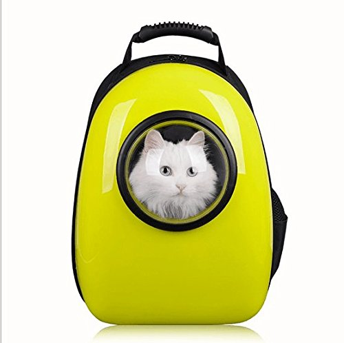 Bubble Pet Carrier, C&D Dog Carrier Capsual Pet Bubble Cat Backpack Travel Carrier for Dogs and Cats (Yellow)