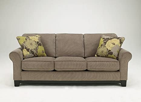 Riley Contemporary Slate Sofa with Floral Pillows