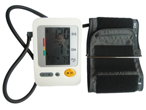 Lotfancy® (Fda Ce Approved) Health Sense Fully Automatic Digital Upper Arm Blood Pressure / Heart Beat Meter Monitor Large Lcd (Display) Features + (120 Memories, Who Indicator)