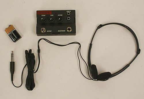 ELECTRIC GUITAR PRACTICE HEADPHONE AMPLIFIER WITH HEADSET & DURACELL 9V BATTERY INSTALLED FAST HANDLING & SHIPPING