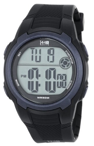 9bc0e3e5b Timex Men's T5K086 1440 Sports Digital Black/Blue Resin Strap Watch image