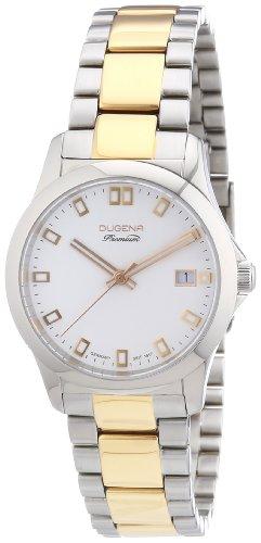 Dugena 7000102 - Reloj analógico de cuarzo para mujer con correa de acero inoxidable, color plateado