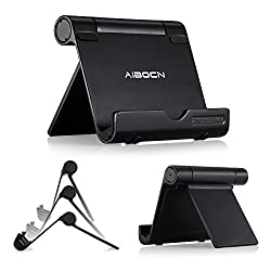 Aibocn Adjustable Portable Stand Multi-Angle for Tablet 4-10 inches Phone E-reader, Durable Solid Aluminum Ultra Compatible iPhone iPad Galaxy Nexus Lumia HTC One LG Oneplus One More (Black)