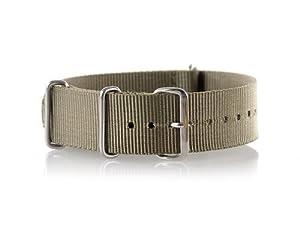 VK von Buran01.com Militär Nylon Uhrenarmband olive-grün 18mm