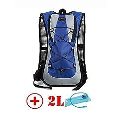 HMLifestyle Hydration packs for hiking hydration backpack Bladder Bag with 2L bladder Water Bag Lightweight Durable Blue + 2L bladder