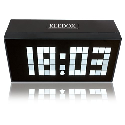 KEEDOX® Digital Jumbo White LED Snooze Wall Desk Calendar Time Temperature Alarm Clock