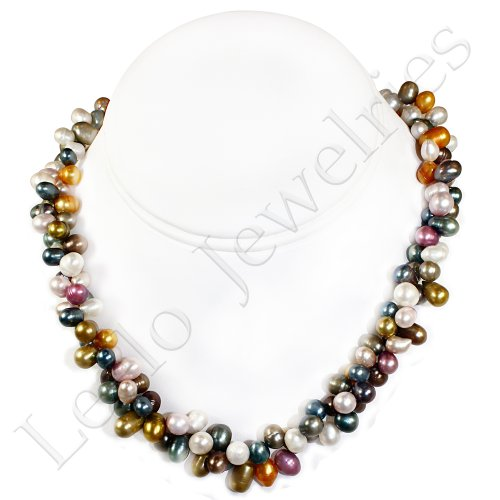 Two Strands Twisted Fresh Water Pearl Necklace - Assorted Colors