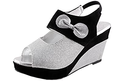 Thari Choice Woman and Girls Synthetic Velvet Wedges Heel Sandal