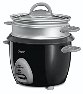 Oster CKSTRCMS65 3-Cup (Uncooked), 6-Cup (Cooked) Rice Cooker with Steam Tray, Black from Oster