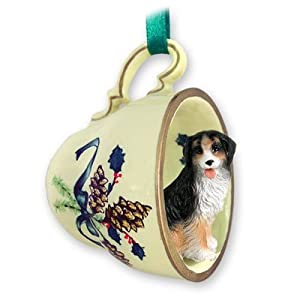 Bernese Mountain Dog Green Holiday Tea Cup Ornament