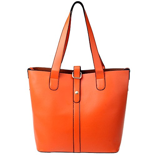 Vbiger Women Fashion Handbag Shoulder Bag Soft Leather Tote Lady Purse Bag (Orange)