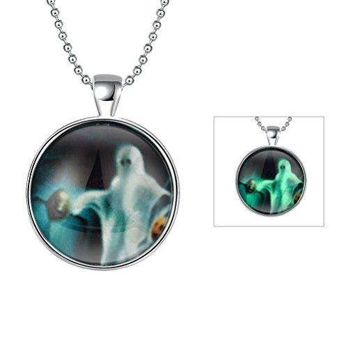 SunIfSnow donna Round Coin fantasma Teschio Halloween Regali fluorescenza collana