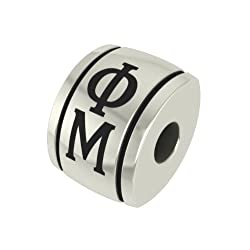 Phi Mu Barrel Sorority Bead Fits Most Pandora Style Bracelets Including Pandora Chamilia Biagi Zable Troll and More. High Quality Bead in Stock for Immediate Shipping