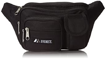 Everest Multiple Pocket Waist Pack, Black, One Size