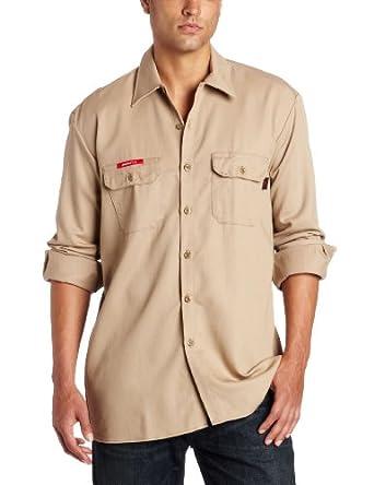 Dickies Men's Flame Resistant Work Shirt, Khaki, Small