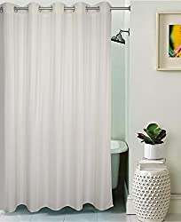 Lushomes Unidyed White Polyester Shower Curtain with 10 Eyelets