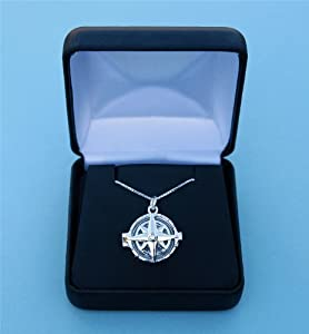 Compass Rose Silver Compass Locket with 19.5 inch Silver Chain