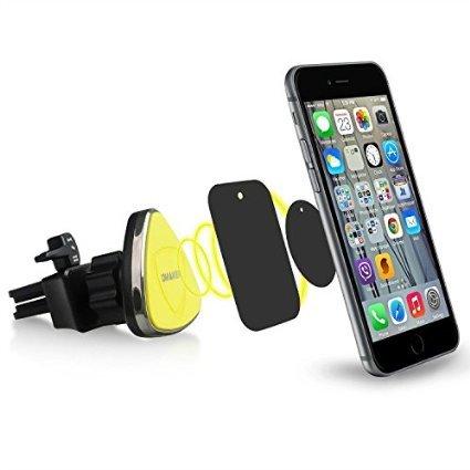 Omaker マグネット車載ホルダー エアコン吹き出し口に差込みスマホホルダー iPhone6s/iPhoneSEなどスマホとカーナビに対応するカーマウント(ブラック+イエロ)OMA4131