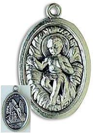 100 Piece Pack, Patron Saints Medals, Infant Jesus & Guardian Angel, Italian Oxidized Silver.