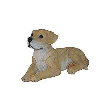 MD Group Garden Statue Laying Lab Yellow Poly-resin & Stone Realistic Dog Outdoor Lawn Decor