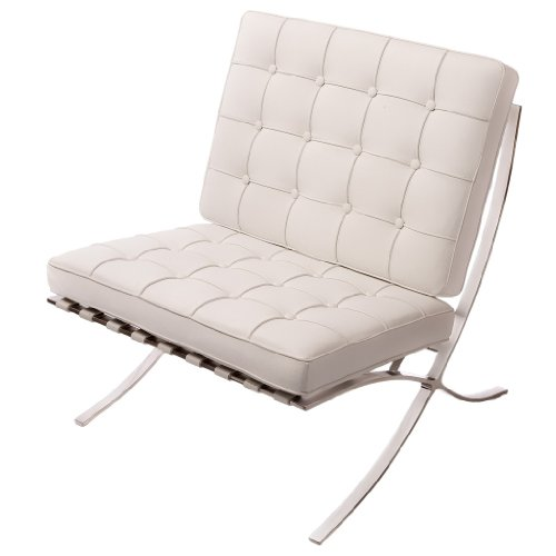 Cheap Pavilion White Leather Modern Accent Chair Low