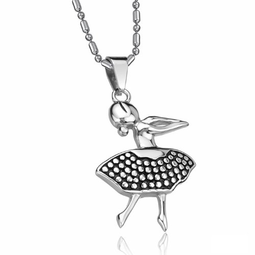Opk Jewellery Fashion Stainless Steel Necklace Happy Female Dancers Noble Graceful Pendant Necklets,For Men's And Women's Neckwear