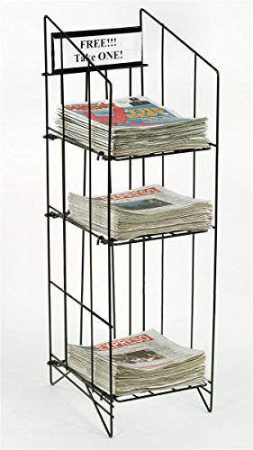 Displays2go Newspaper Rack For Tabloid Size Publications, 12-1/4 x 43 x 16 Inches, Free Standing Floor Fixture, Gloss Black Wire, Sign Channel Plate (NRWRCT3T)