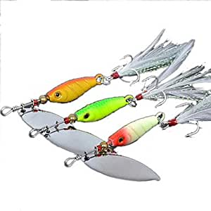 Odoor 3x feathered spinner baits fishing for Amazon fishing spinners