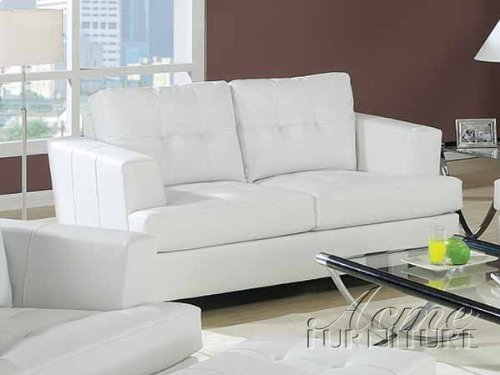 Astonishing Acme 15096B Diamond Bonded Leather Loveseat With Wood Leg Pdpeps Interior Chair Design Pdpepsorg