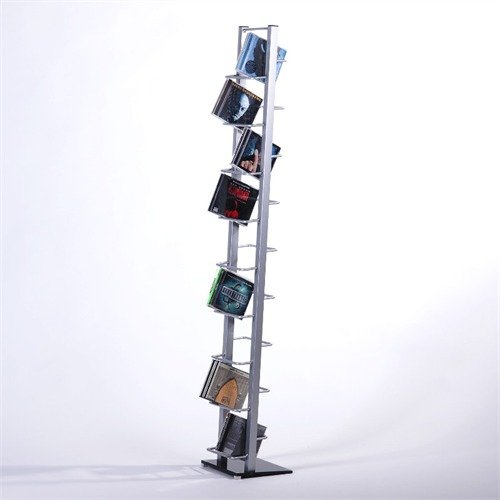 RETRO DESIGN LOUNGE CD STAND SHELF 138 metal tower with glass storage rack silver from XTRADEFACTORY