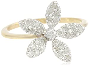 10k Yellow Gold Diamond Flower Ring (1/3 cttw, J-K Color, I2-I3 Clarity), Size 9