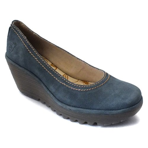 e238d044190d 1   platform height. Approx. 212   heel height. Cement construction.  Cushioned footbed. Leather lining. Showcase your stylish side in the FLY  London Yoni ...