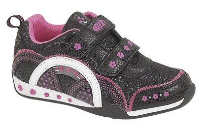 PDQ Sparkle Glitter childrens girls Velcro Shoes