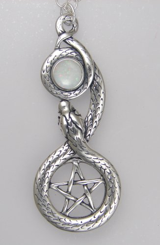 Sterling Silver Pentacle and Snake Accented With a Genuine Opal