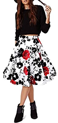 Women Pleated Vintage Skirts Floral Print Midi Skirt