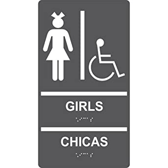 ComplianceSigns ADA Acrylic Tactile + Braille Womens / Girls Restroom