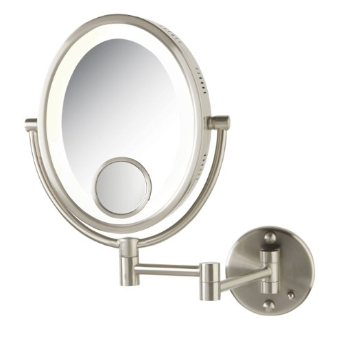 See All Hlnov1015D Halo Lighted Oval Wall Mounted Make Up Mirror 10X With 15X Inset, 10-Inch X 8-Inch Direct Wire, Nickel front-231684