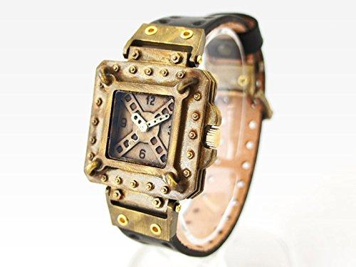 スチームパンク風デザインの腕時計「LOST TIME」 時計作家KS(篠原康治) 手作り時計のJHA(ダークブラウン)