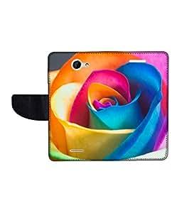 KolorEdge Printed Flip Cover For HTC Desire 516 -Multicolor (50KeMLogo10630HTC516)
