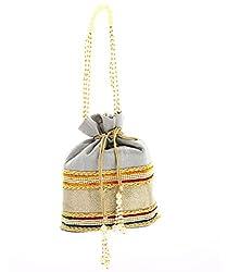 LadyBugBag Grey Silk Designer Potli - LBB10160
