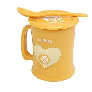 Lemon Design Yellow Plastic Cup Drink Mug with Lid Spoon