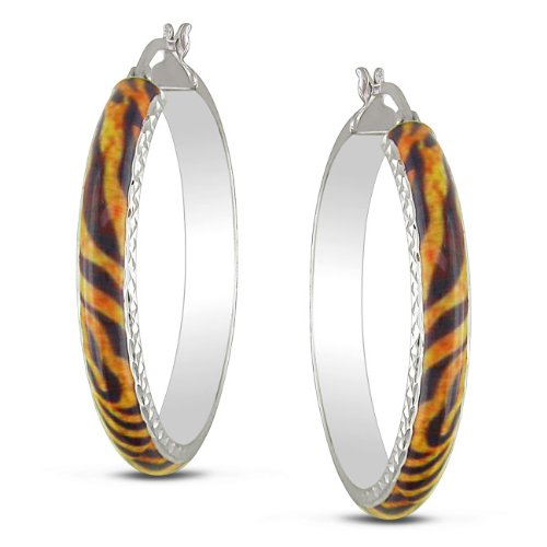 Sterling Silver Tiger Striped Animal Painting Stud Earrings