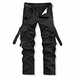 Men\'s Cotton Army Hiking Cargo Pants Casual Trousers with Pockets(34,Black)