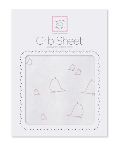 SwaddleDesigns Cotton Flannel Fitted Crib Sheet, Mama & Baby Chickies, Pink