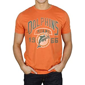 Miami Dolphins NFL Mens Junk Food Vintage Kick Off Crew T-shirt Orange by Junk Food
