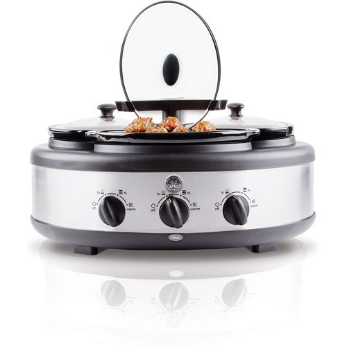 Ge 3-Crock Round Slow Cooker - 1.5 Qt Crocks