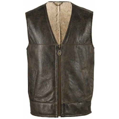 Mens Luxury Brown Leather Gilet / Body Warmer with Sheepskin Lining (Giles). Size 38