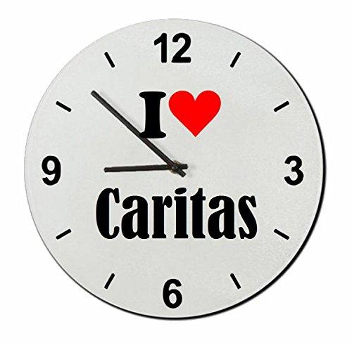 """ESCLUSIVO: Orologio Vetro """"I Love Caritas"""" una grande idea regalo per il vostro partner, colleghi e molti altri! - Regalo di Pasqua, Pasqua, orologio, orologio, Regaluhr, regalo, Made in Germany."""