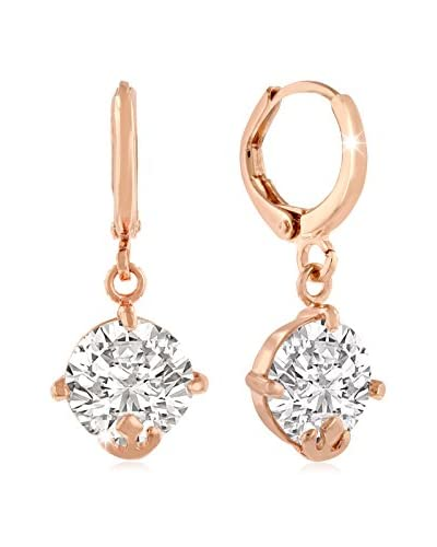 Adoriana Rose Gold-Plated Swarovski Elements Drop Hoop Earrings