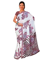 1st Home White Color Georgette Printed Saree